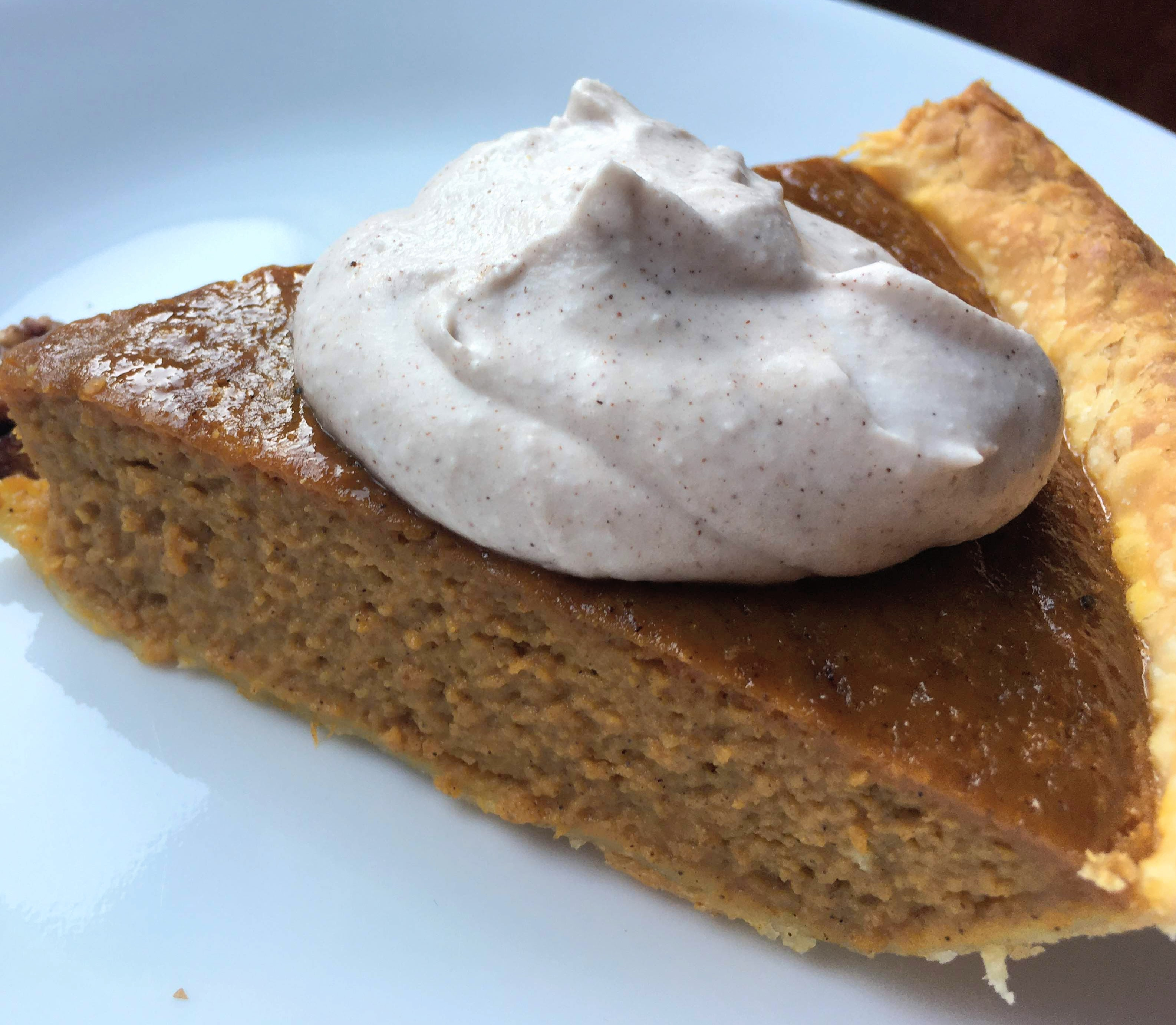 dairy free coconut pumpkin pie with maple pumpkin spiced coconut whipped cream