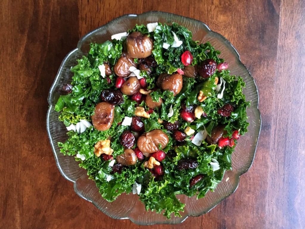 christmas kale salad with roasted chestnuts